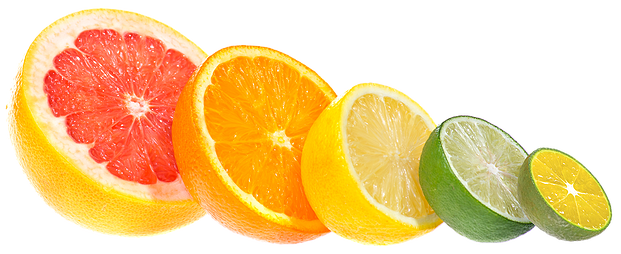 Some fruits like lime, orange